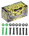 6 black bolts 1 Green skateboard hardware bolts