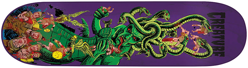 Purple board featuring the medusa eating someone 80s skateboards