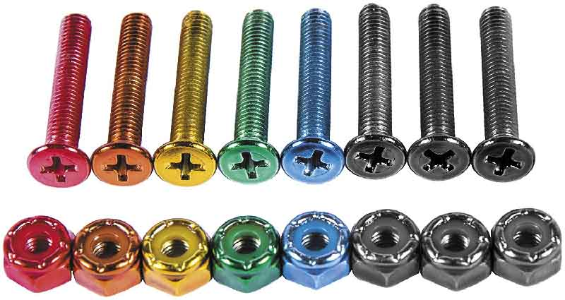 Different coloured skateboard hardware