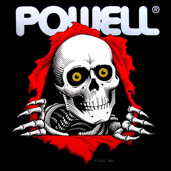 white skull ripping through canvas with the text Powell above Powell Peralta Ripper