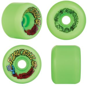 Green Slimeball Wheels for an old school skateboard