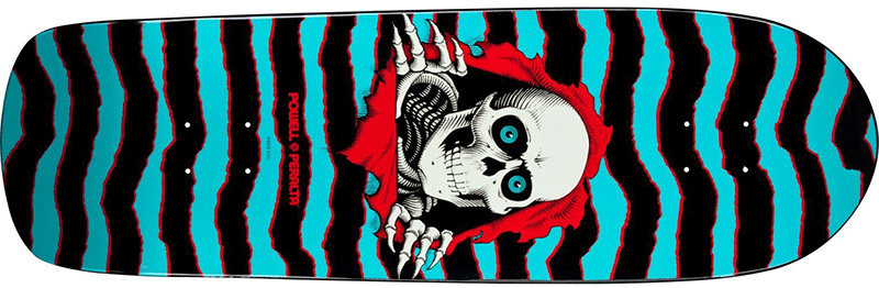 Powell Peralta Skull 80s skateboard featuring blue and black stripes