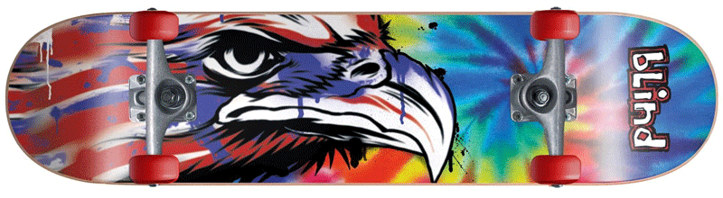American eagle tie dye design on a skateboard deck