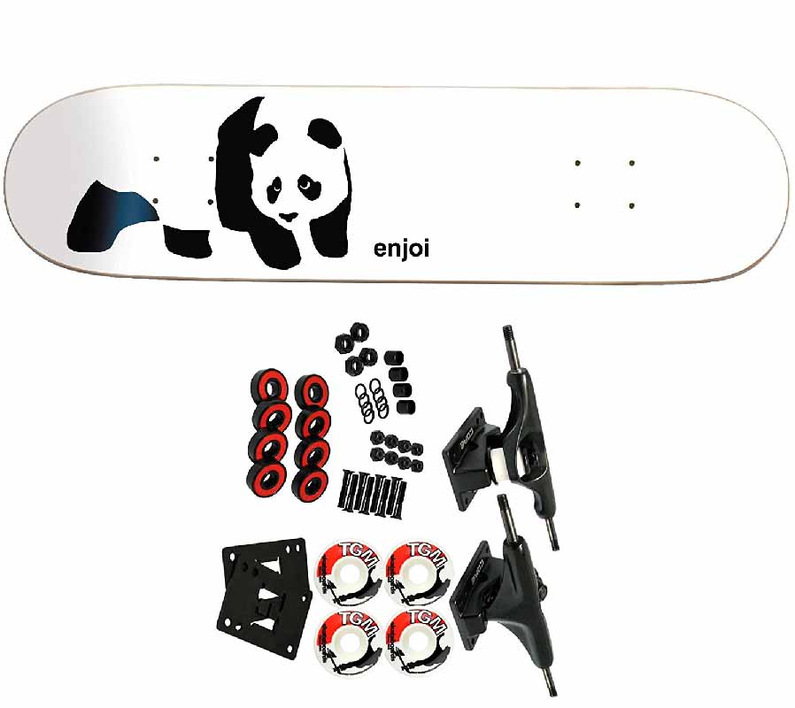 Enjoi Panda on a black and white deck best pop skateboard