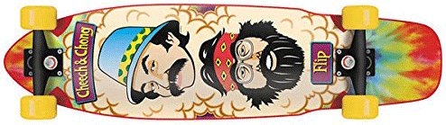 Cheech and Chong on a flip skateboard deck with a tie dye print