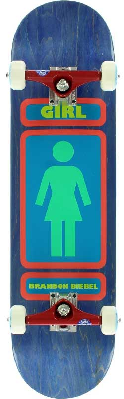 Blue skateboard background and a girl restroom logo on a skateboard deck with wheels for the best pop skateboards