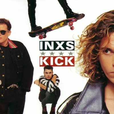 INXS Album cover featuring 3 men and a skateboard