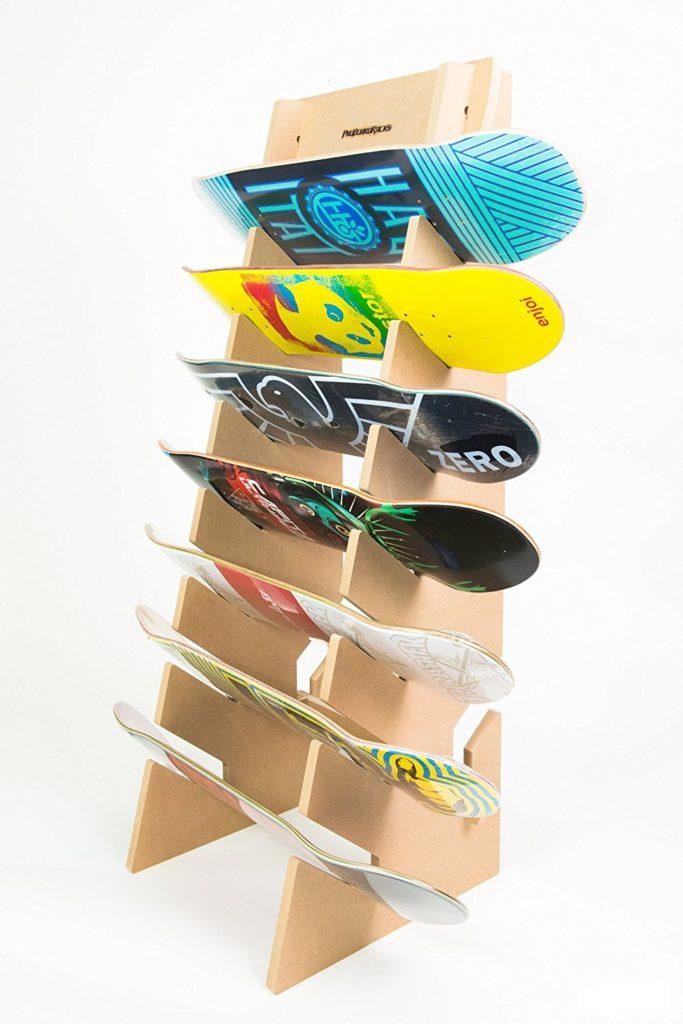 6 skateboads on a pro board skateboard rack