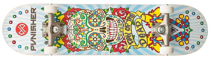 Day of the dead patterned skull on a punisher skateboard deck for under $50