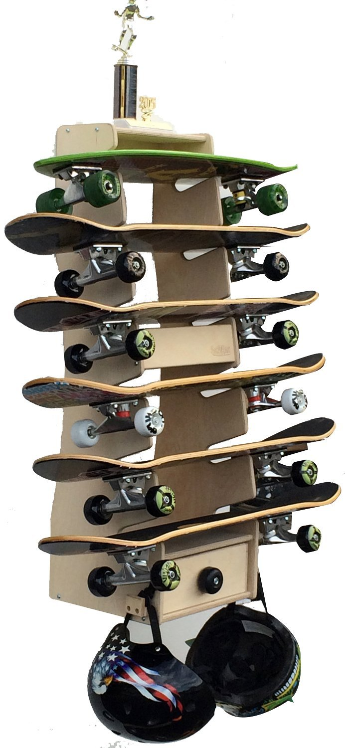 Large 6 skateboard rack featuring a cupboard and two helmets