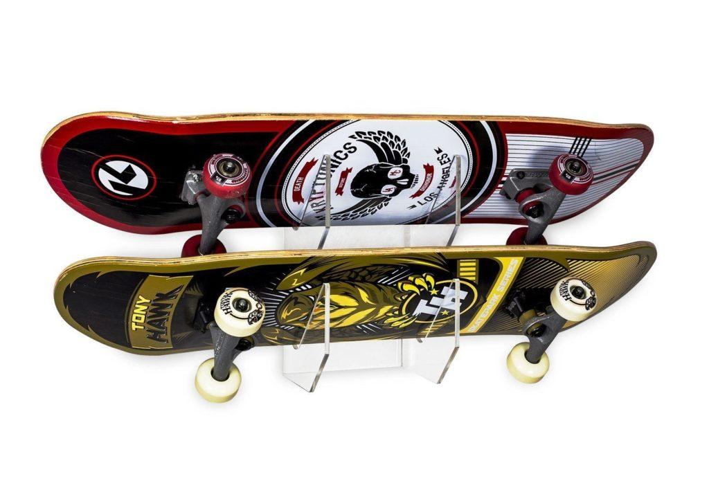 Clear skateboard rack featuring 2 skateboards