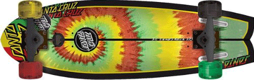 A tie die design on a santa cruz skateboard. The skateboard has different wheel colors