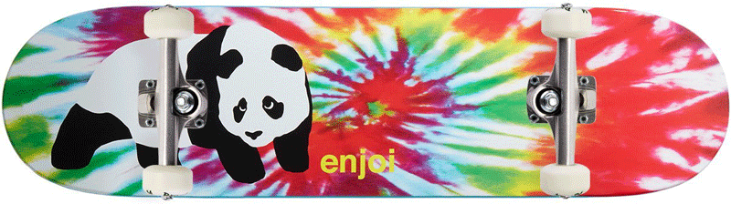 Tie Die Skateboard Enjoi deck with a panda on it