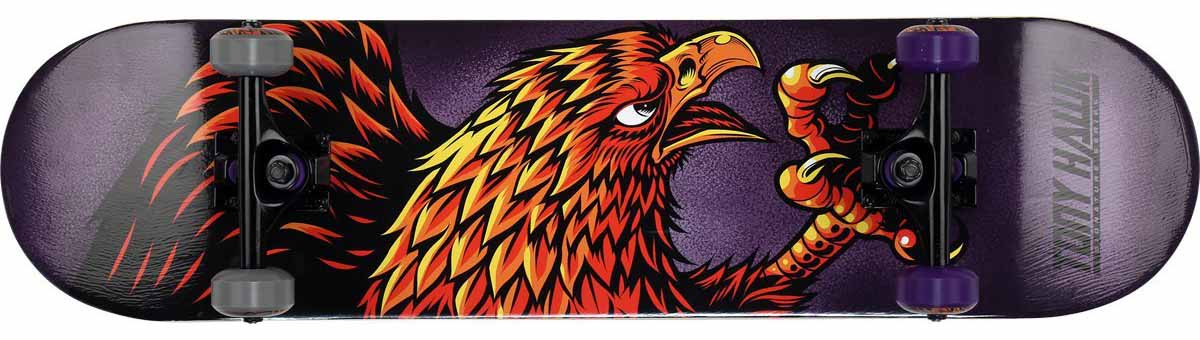 Tony hawk skateboard featuring an eagle on a blue background. A skateboard for under $50