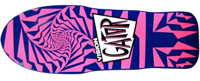 "Pink swirly design of Mark Anthony ""Gator"" Rogowski for a vision skateboard"