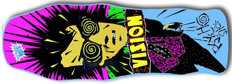 Man with crazy glasses on the back of a vision skateboard deck reissue with a pink background