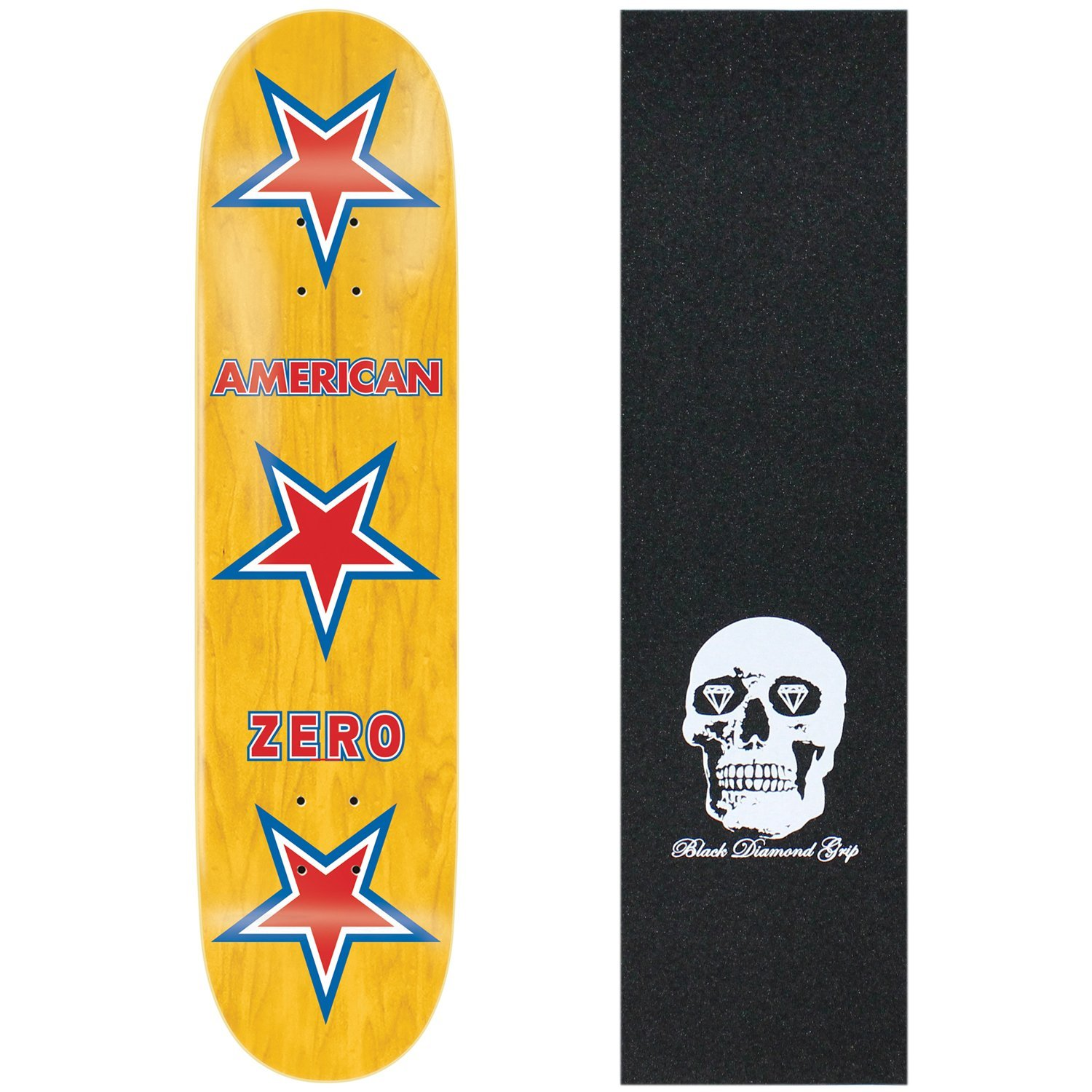 Yellow Skateboard with Red Stars from the Zero Skateboard Brand Best Pop Skateboards