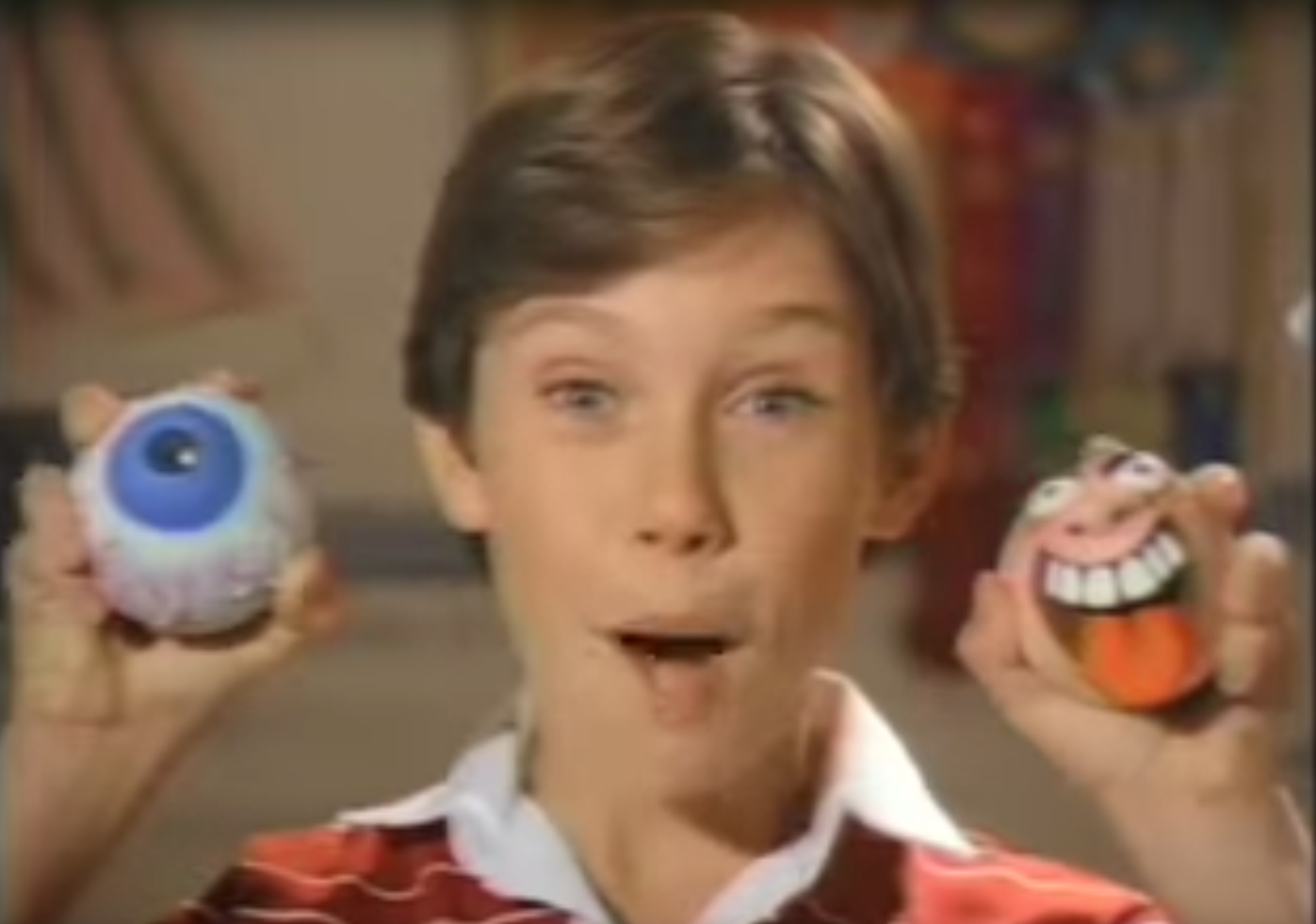 Kids with madballs on 80s toy commercials