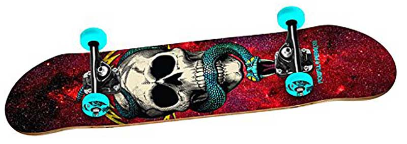 Powell Peralta Complete skull on red background with blue wheels