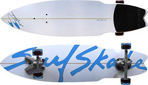 Surf skateboard in blue and white