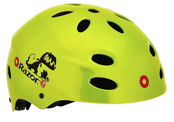 Razor Scooter in yellow as one of the best skateboard helmets