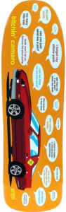 red car with various speech bubbles made to look like the conversations of people frustrated on a car trip , the design is on an orange old school skateboard