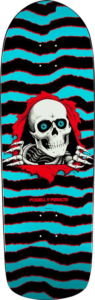 Powell Peralta ripper graphic of a skull tearing through canvas on and oldschool deck