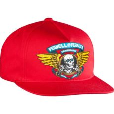 A red hat with the powell peralta ripper skull on the front