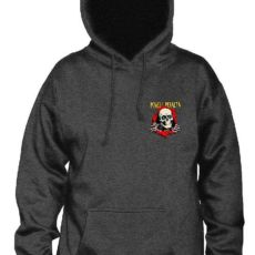 A charchoal hoodie jumper with the powell peralta ripper on the breast