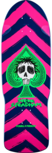 Pink and Blue striped blue pointing up old school skateboard deck