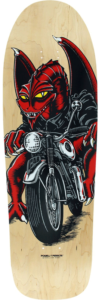 Picture of a dragon on a motorcycle on a oldschool skateboard