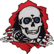 a sew on patch for jackets featuring the powell peralta ripper