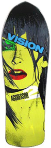 Photo of a beautiful woman on a vision skateboard aggressor 80s skateboard deck