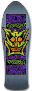 Monster Vision-Grigley icon on an 80s skateboard deck