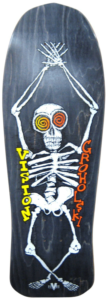 Skeleton on and an 80s skateboard deck